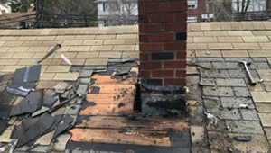 Chimney Removing Old Flashing on Chimney