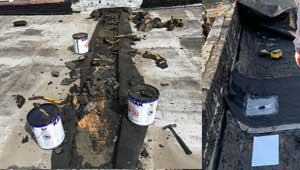 Flat roof drain leak repair company, specialist near me in North NJ